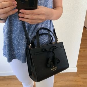 KATE SPADE MINI HAYES BLACK SATCHEL CROSSBODY